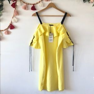 NWT Zara Yellow w/ Black straps Mini Dress Large